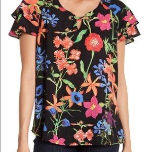 NWT Spense Double Ruffle Sleeve Floral Blouse